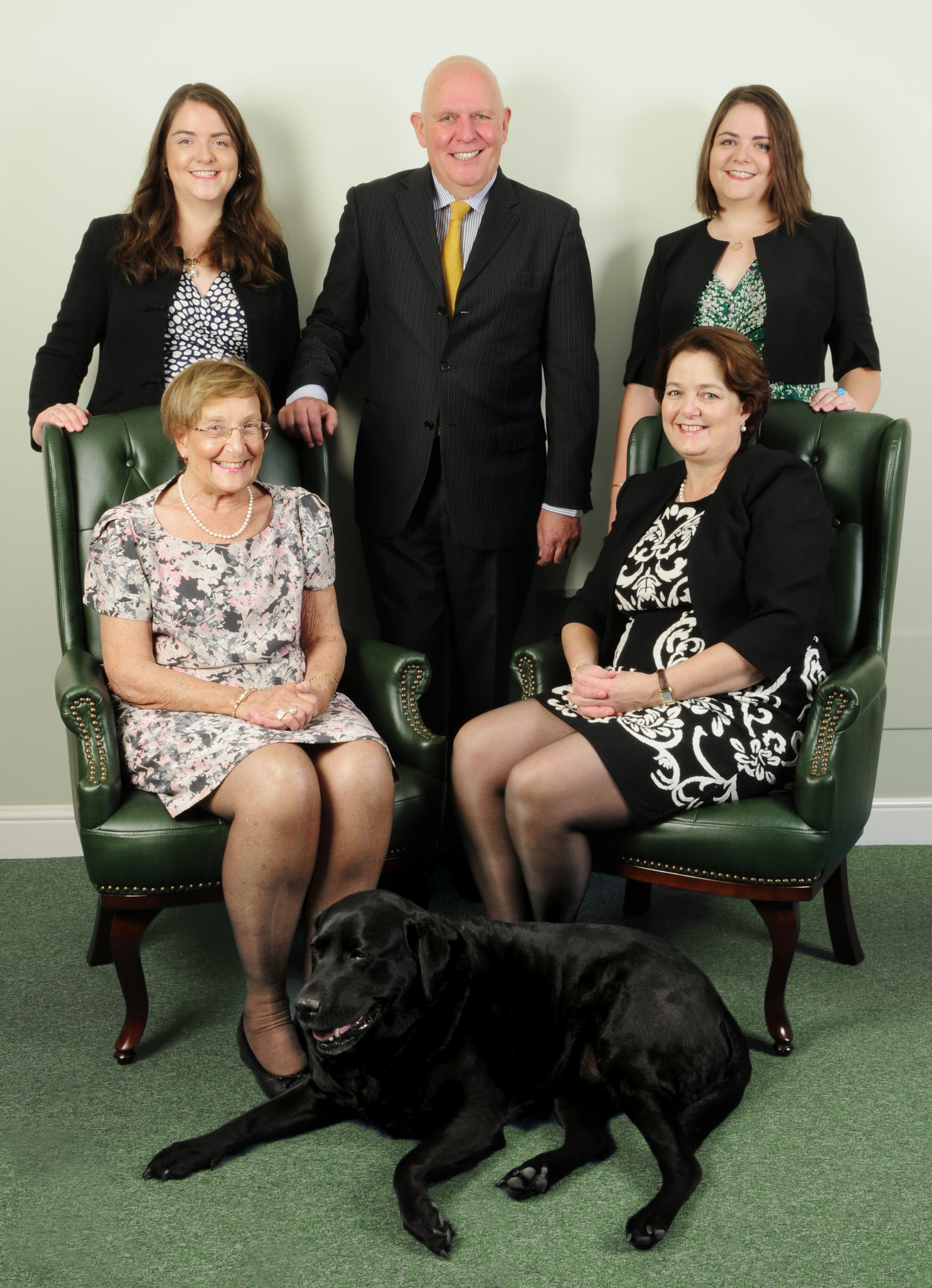 Fellows today: Nicola, Stephen, Alexandra and Jayne Whittaker, Muriel Fellows with Maddie the Fellows dog.