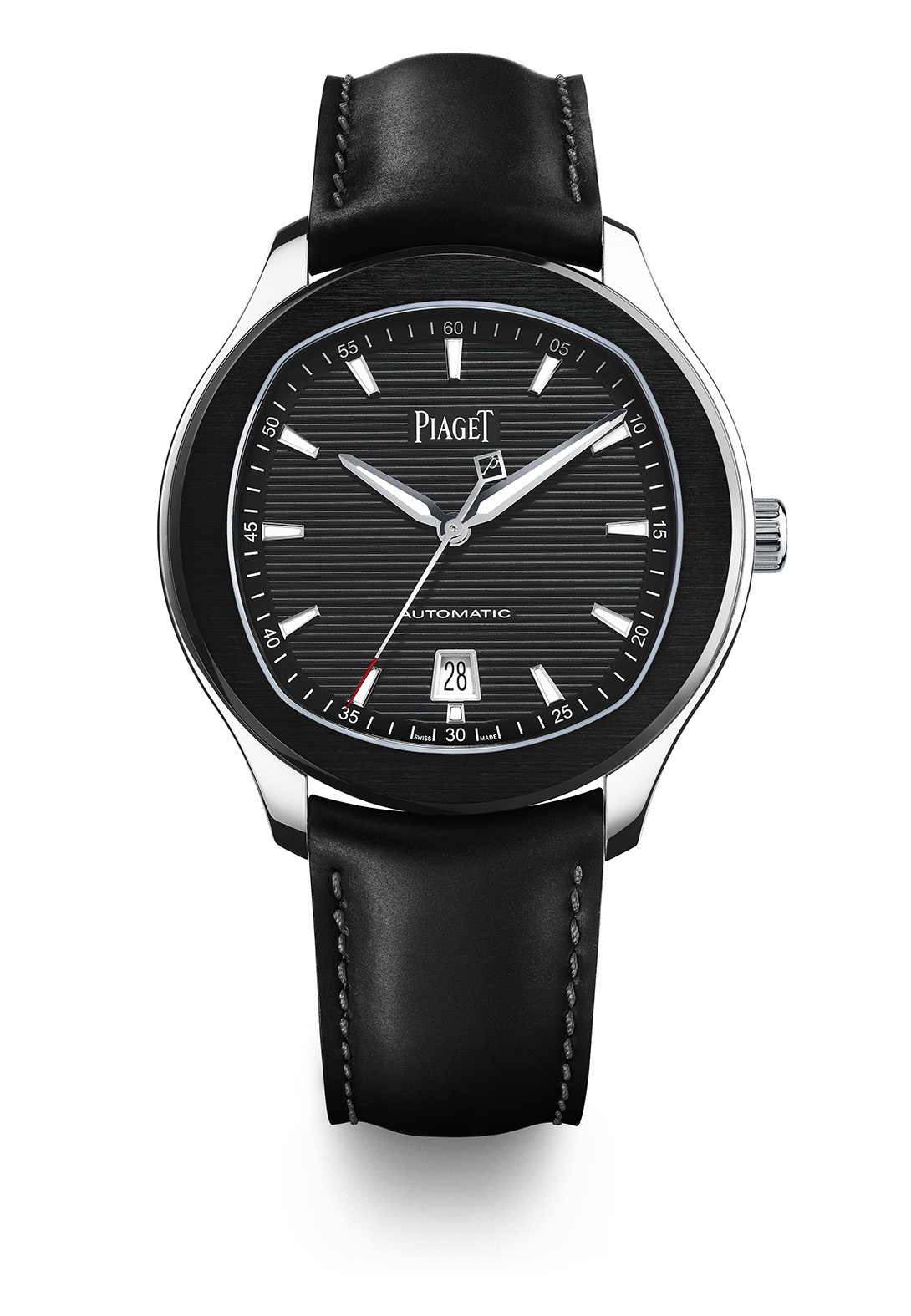 Piaget Polo S watch – 42 mm  Case in steel, sapphire case-back, black ADLC bezel, black colored dial with silvered appliques indexes with Superluminova, Manufacture Piaget 1110P self-winding mechanical movement (Hours, Minutes, Seconds, Date at 6 o'clock, slate grey oscillating weight) 9.4 mm thickness and water resistant up to 100 m Black rubber strap set with an ardillon buckle Delivered with a second black calfskin strap Edition limited to 888 pieces