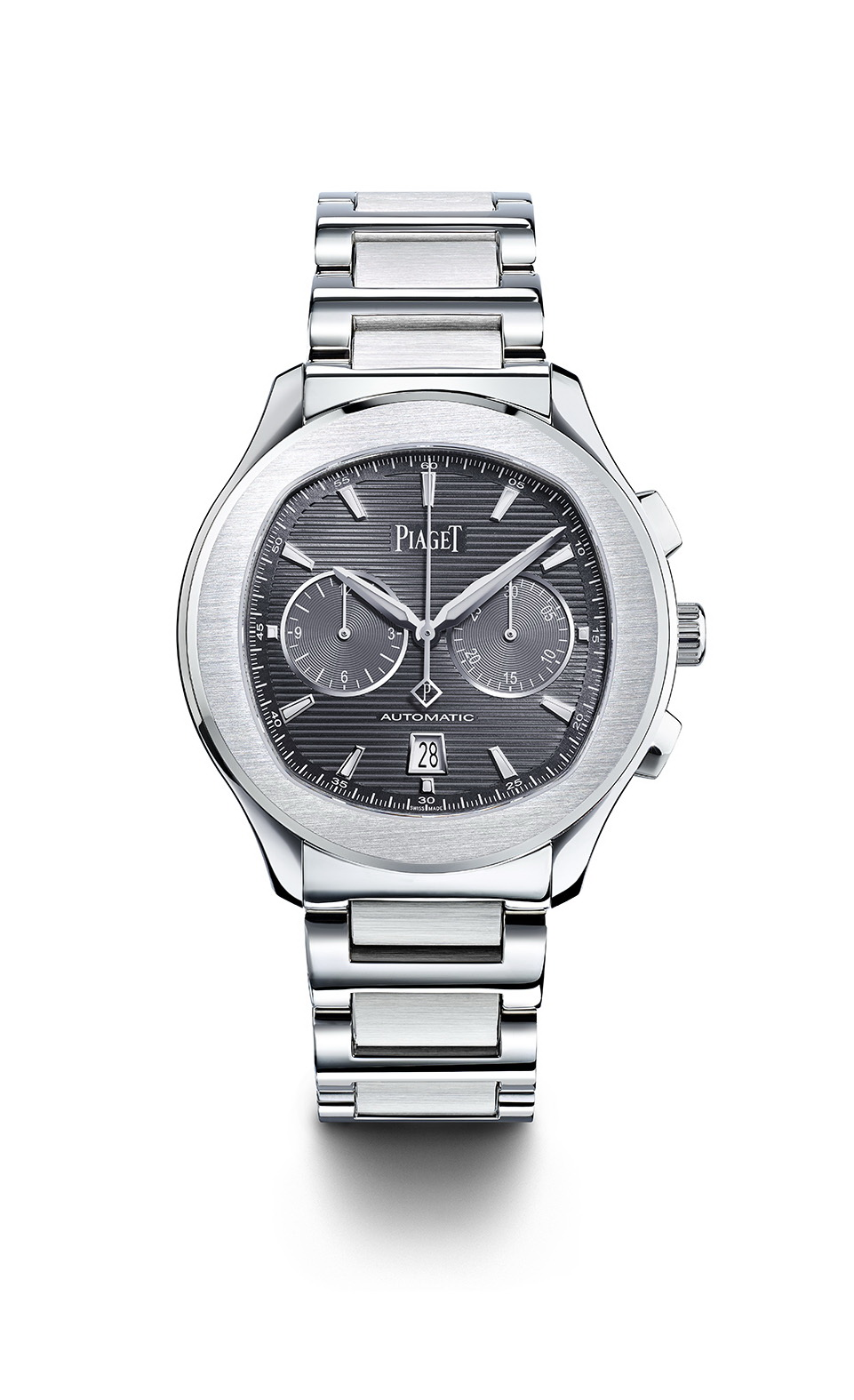 Piaget Polo S watch – 42 mm  Case in steel, sapphire case-back, slate grey dial with silvered appliques indexes with Superluminova, Manufacture Piaget 1160P self-winding mechanical chronograph movement (Hours, Minutes, Date at 6 o'clock, Chronograph with central seconds, 30-minute counter at 3 o'clock, 12 hours counter at 9', slate grey oscillating weight) 11,2 mm thickness and water resistant up to 100 m Bracelet in steel with integrated folding clasp.