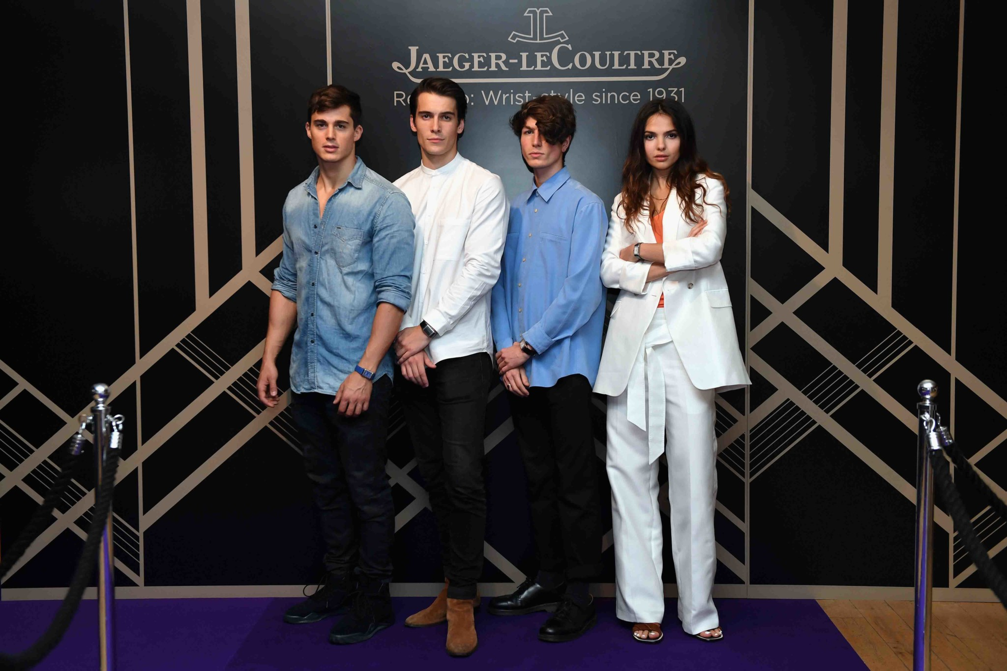 """LONDON, ENGLAND - MAY 31: (L-R) Pietro Boselli, Harry Rowley, Zaki Maoui and Doina Ciobanu attend Jaeger-LeCoultre & Christie's """"Roaring 20's, Reverso 30's"""" Party at Christie's South Kensington on May 31, 2017 in London, England. (Photo by Chris J Ratcliffe/Getty Images for Jaeger-LeCoultre) *** Local Caption *** Pietro Boselli; Harry Rowley; Zaki Maoui; Doina Ciobanu"""