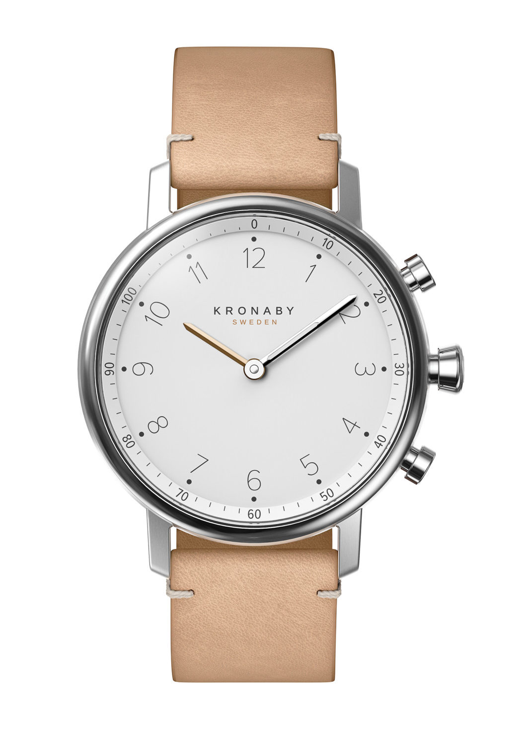 Pared down to the bare minimum, Kronaby's NORD is refined, with a nod to Kronaby's Nordic heritage. Key details include a matte finish dial and a case that combines stainless steel with double-domed, anti-reflective sapphire crystal. The case size is 38mm and the watch comes in four variants with 18mm bracelets in stainless steel, solid links/mesh or leather.