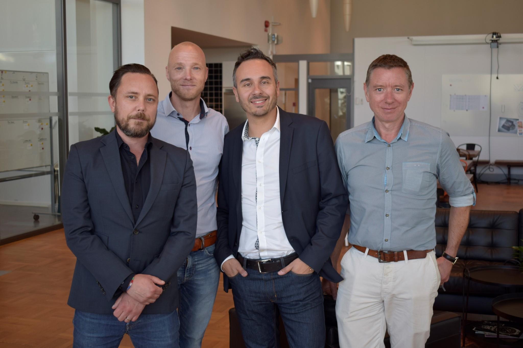 Left to right: Mats Larsson,  Henrik Telander, Sarandis Kalogeropulos, and WatchPro managing editor Rob Corder at Kronaby's headquarters.
