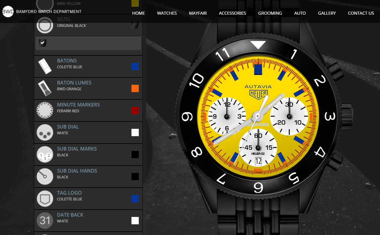 Here's one WatchPro made earlier using the Bamford customiser on a TAH Heuer Autavia.