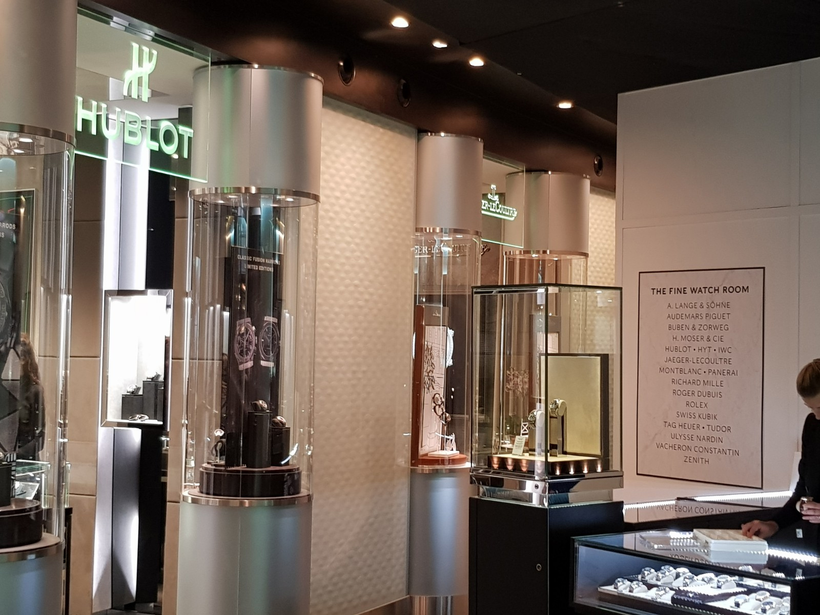 Hublot's ground floor boutique in the Harrods Fine Watch Room remains open, but is surrounded by hoardings for construction work.